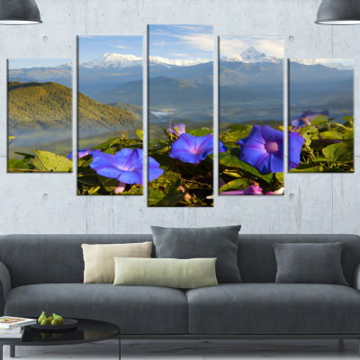 Stunning Mountain Terrain With Flowers Landscape Canvas Art Print - 5 Panels