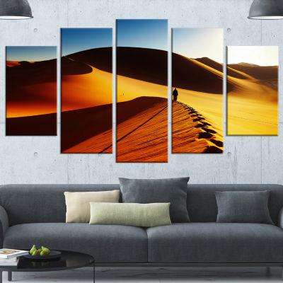 Yellow Sahara Desert Algeria Landscape Canvas ArtPrint - 4 Panels