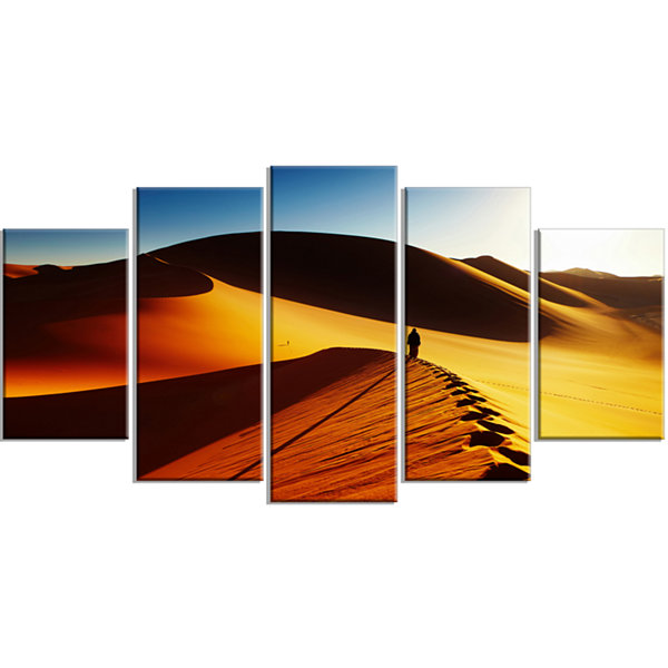 Design Art Yellow Sahara Desert Algeria LandscapeWrapped Canvas Art Print - 5 Panels