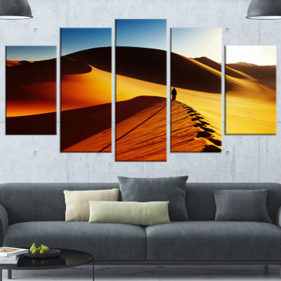 Designart Yellow Sahara Desert Algeria LandscapeWrapped Canvas Art Print - 5 Panels