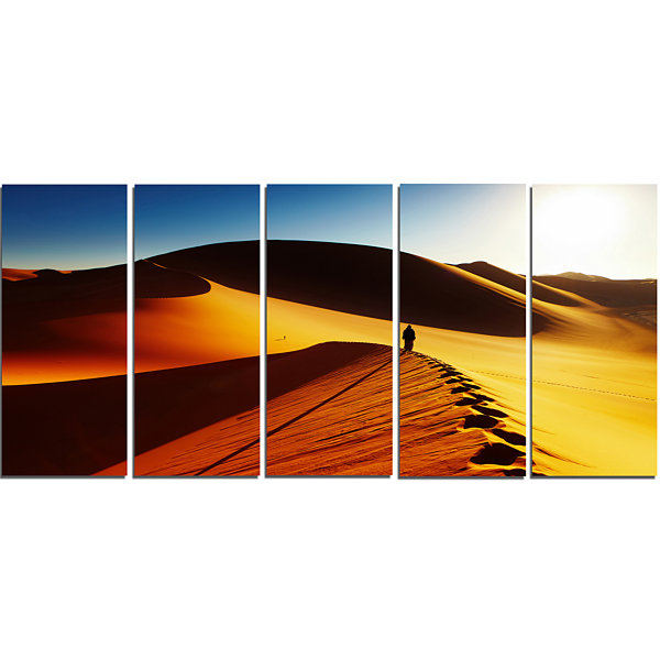 Design Art Yellow Sahara Desert Algeria LandscapeCanvas Art Print - 5 Panels