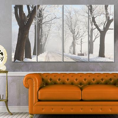 Designart Misty Rural Road In Winter Forest LargeForest Canvas Art Print - 4 Panels