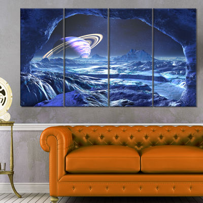 Designart Electric Blue Alien World Landscape Canvas Art Print - 4 Panels