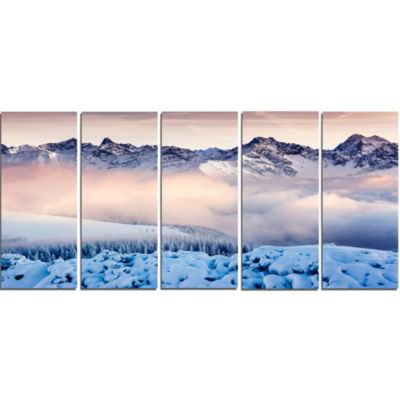 Blue Foggy Terrain With Mountains Landscape CanvasArt Print - 5 Panels