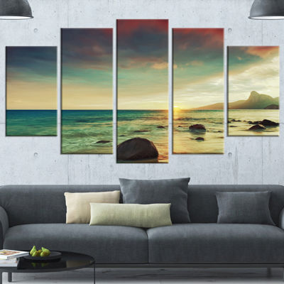 Designart Colorful Seashore With Rocky Beach LargeSeashore Canvas Art Print - 4 Panels