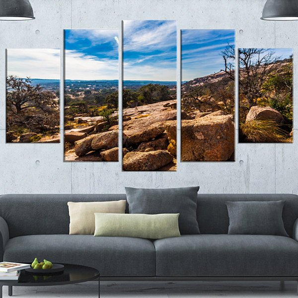 Designart Boulders Of Legendary Enchanted Rock Landscape Wrapped Canvas Art Print - 5 Panels