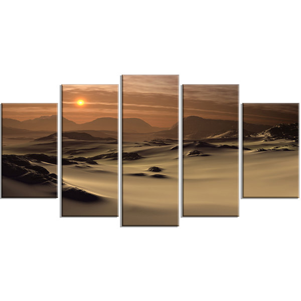 Designart Beautiful Brown Fantasy Terrain Landscape Wrapped Canvas Art Print - 5 Panels