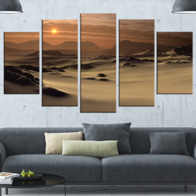 Beautiful Brown Fantasy Terrain Landscape Canvas Art Print - 5 Panels