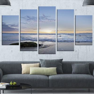 Design Art Beautiful Rocky Seashore In Blue LargeSeashore Wrapped Canvas Art Print - 5 Panels