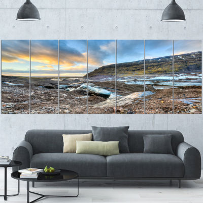 Vatnajokull Glacier Trail Iceland Large Seashore Canvas Art Print - 7 Panels