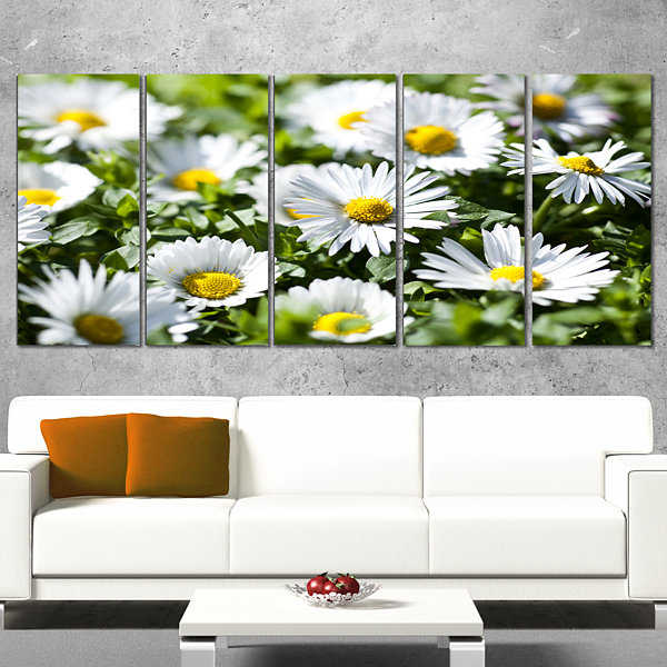 Designart Spring Background With White Flowers Floral Canvas Art Print - 5 Panels