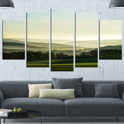 Designart Superb Green Hills In The Fog LandscapeWrapped Canvas Art Print - 5 Panels