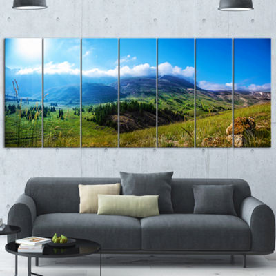 Designart Mountain Landscape Panorama Landscape Wrapped Canvas Art Print - 5 Panels
