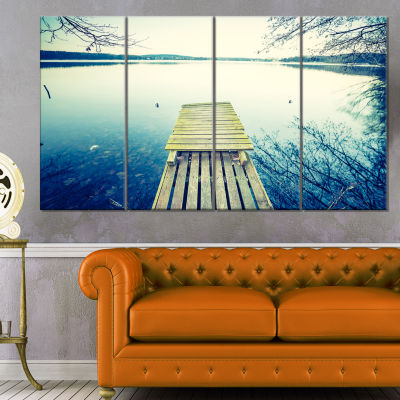 Sunset Over Tranquil Lake Bridge Canvas Art Print- 4 Panels