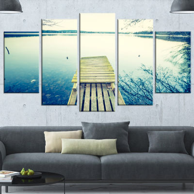 Designart Sunset Over Tranquil Lake Bridge CanvasArt Print- 5 Panels