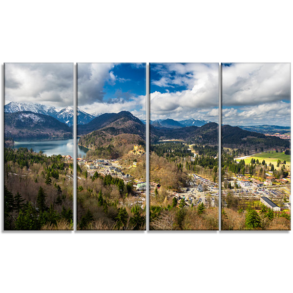 Designart Alps And Lakes On Summer Day LandscapeCanvas Art Print - 4 Panels
