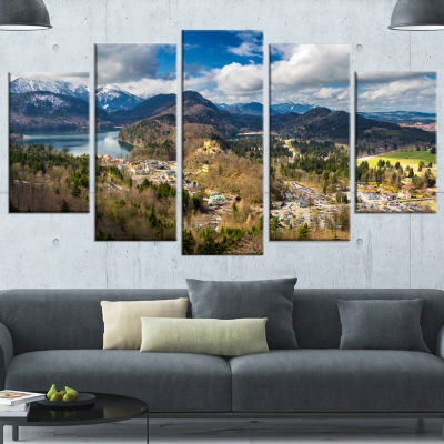 Designart Alps And Lakes On Summer Day LandscapeWrapped Canvas Art Print - 5 Panels