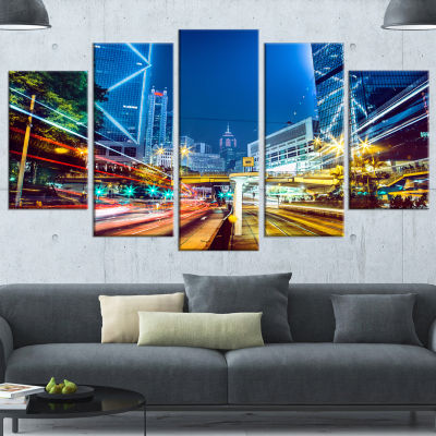 Designart Hong Kong City Night Scene Large Cityscape Art Print On Wrapped Canvas - 5 Panels