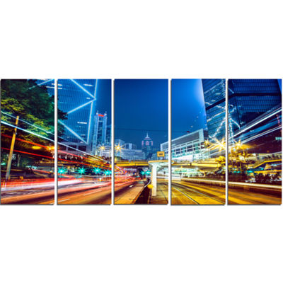 Designart Hong Kong City Night Scene Large Cityscape Art Print On Canvas - 5 Panels