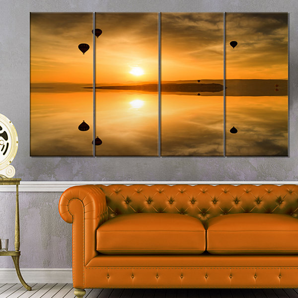 Designart Flying Balloons And Reflection Large Seashore Canvas Art Print - 4 Panels