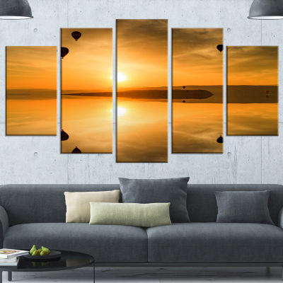 Flying Balloons And Reflection Large Seashore Wrapped Canvas Art Print - 5 Panels