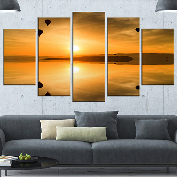 Design Art Flying Balloons And Reflection Large Seashore Wrapped Canvas Art Print - 5 Panels