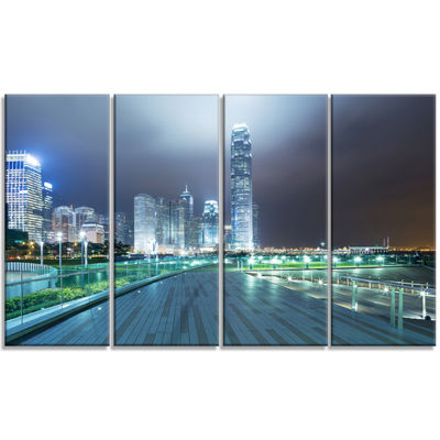 Designart Night Pathway In Modern City Large Cityscape Art Print On Canvas - 4 Panels