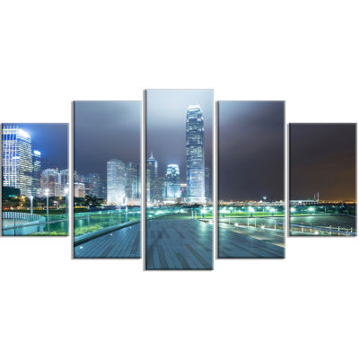 Night Pathway In Modern City Large Cityscape Art Print On Wrapped Canvas - 5 Panels