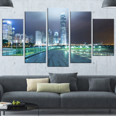 Design Art Night Pathway In Modern City Large Cityscape Art Print On Wrapped Canvas - 5 Panels