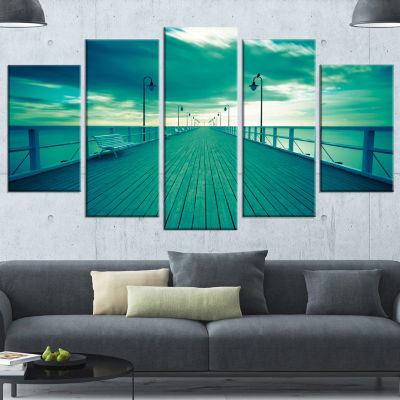 Designart Blue Seascape With Wooden Pier Bridge Wrapped Canvas Art Print - 5 Panels