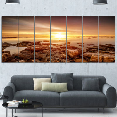 Beautiful Sunset Over Rocky Beach Large Seashore Canvas Art Print - 6 Panels