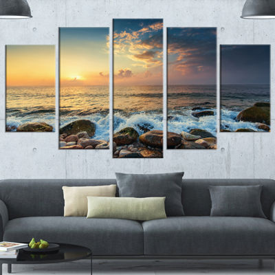 Designart Sunrise And Shining Waves In Sea LargeSeashore Wrapped Canvas Art Print - 5 Panels