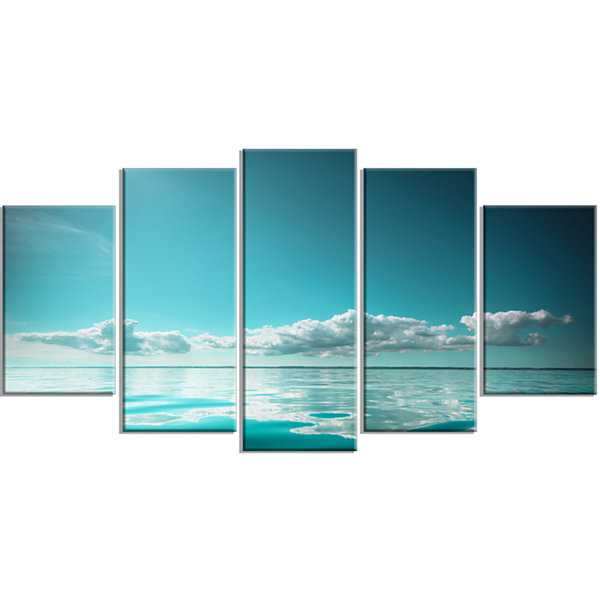 Design Art Blue Sea Horizon And Skyscraper Large Seashore Wrapped Canvas Art Print - 5 Panels
