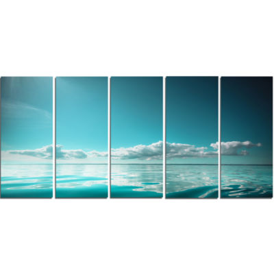 Blue Sea Horizon And Skyscraper Large Seashore Canvas Art Print - 5 Panels