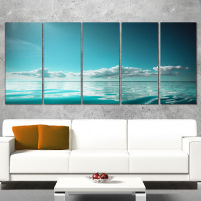 Designart Blue Sea Horizon And Skyscraper Large Seashore Canvas Art Print - 5 Panels