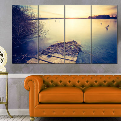 Designart Amazing Sunset Over Clam Lake LandscapeCanvas Art Print - 4 Panels