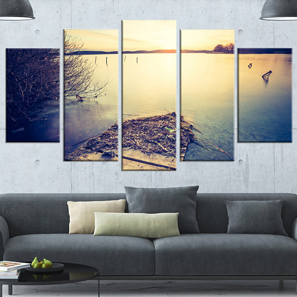 Design Art Amazing Sunset Over Clam Lake LandscapeCanvas Art Print - 4 Panels