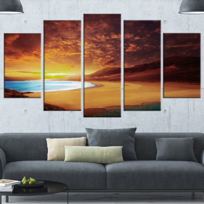 Cofete Beach Fuerteventura Landscape Canvas Art Print - 5 Panels