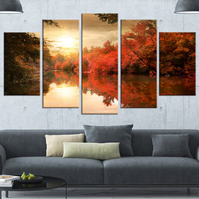 Designart Colorful Fall Sunset Over River Landscape Wrapped Canvas Art Print - 5 Panels