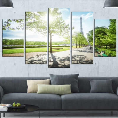 Design Art Paris Eiffel Towerat Sunny Morning Landscape Wrapped Canvas Art Print - 5 Panels