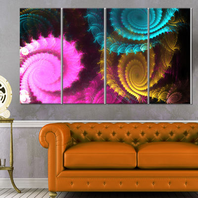 Designart Color Swirl Fractal Abstract BackgroundLarge Abstract Canvas Artwork - 4 Panels