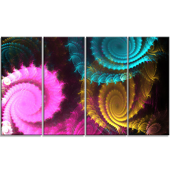Design Art Color Swirl Fractal Abstract BackgroundLarge Abstract Canvas Artwork - 4 Panels