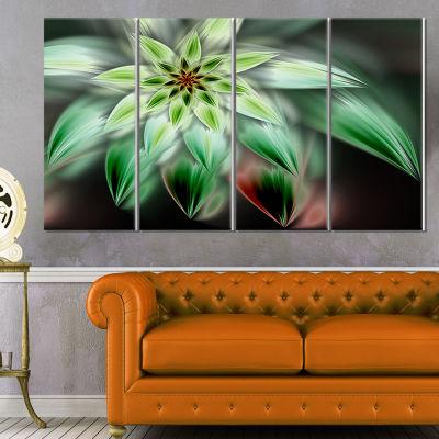 Design Art Green Flower Fractal Artwork Floral Canvas Art Print - 4 Panels