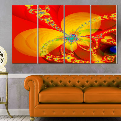 Designart Red Yellow Colorful Fractal Pattern Floral Canvas Art Print - 4 Panels