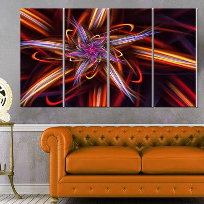 Designart Red Purple Colorful Fractal Design Floral Canvas Art Print - 4 Panels
