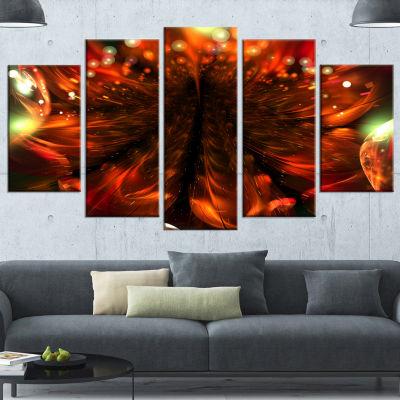 Designart Abstract Fractal Orange Flower Floral Canvas Art Print - 4 Panels