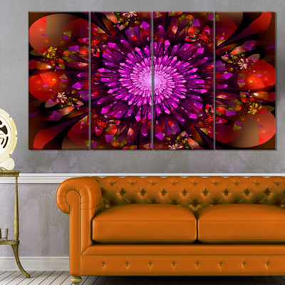 Designart Purple Glowing Crystals In Space FloralCanvas Art Print - 4 Panels