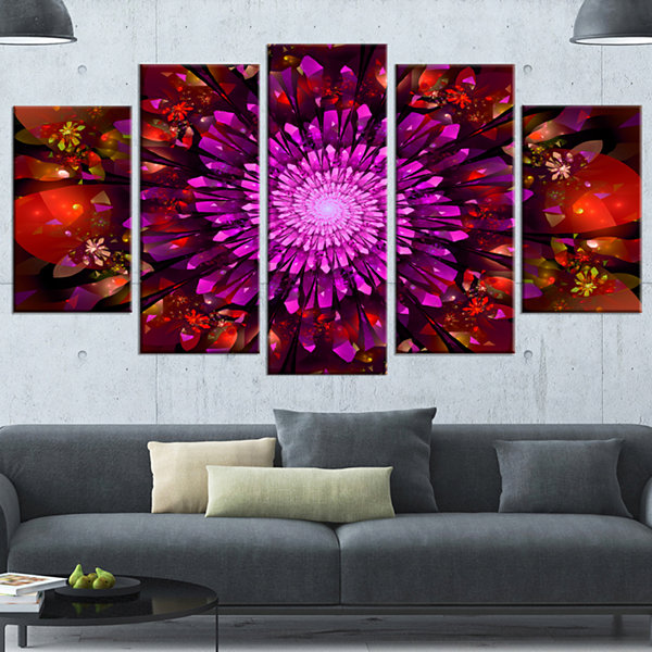 Designart Purple Glowing Crystals In Space LargeFloral Canvas Art Print - 5 Panels
