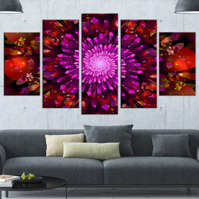 Designart Purple Glowing Crystals In Space FloralCanvas Art Print - 5 Panels