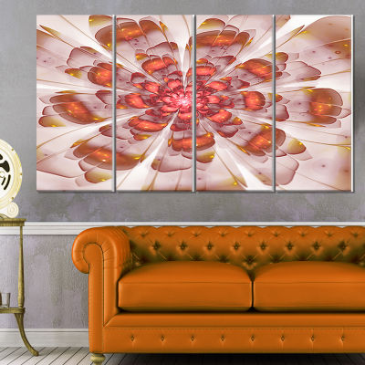 Design Art White Brown Fractal Flower Floral Canvas Art Print- 4 Panels